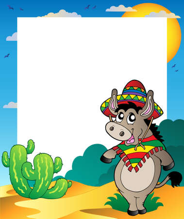 donkey: Frame met Mexicaanse ezel Stock Illustratie