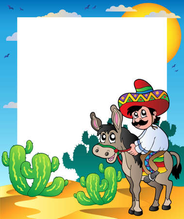 Frame with Mexican riding donkey Vector