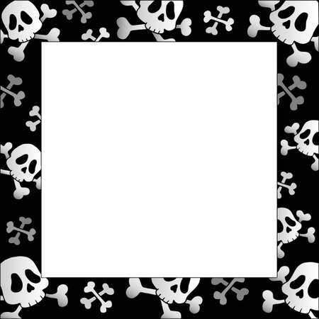 Frame with pirate skulls and bones Vector