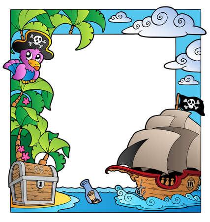 piratenhoed: Frame met zee en piraten thema Stock Illustratie