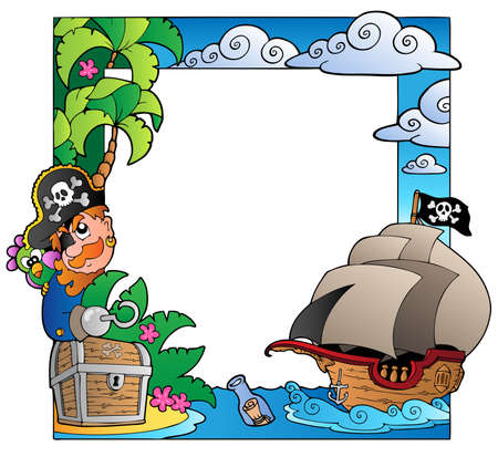 vintage theme: Frame with sea and pirate theme Illustration