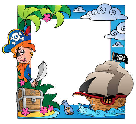 Frame with sea and pirate theme Vector