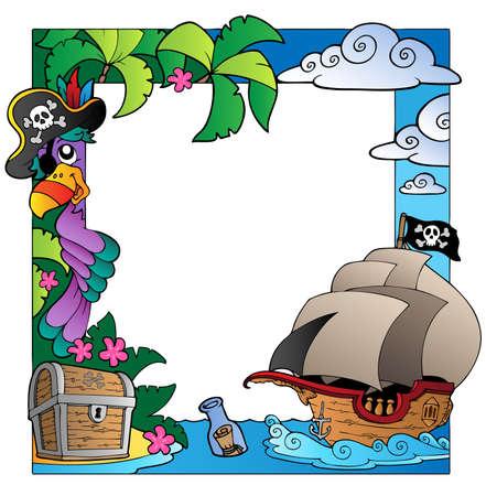 piratenhoed: Frame met zee en piraat thema Stock Illustratie