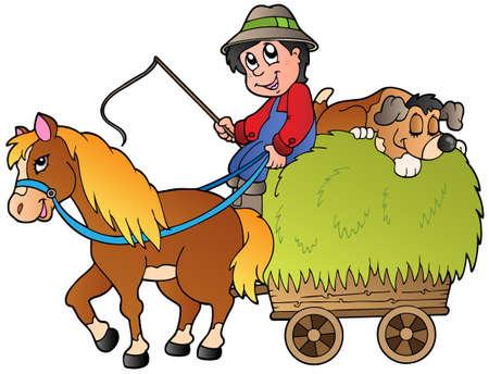 Hay cart with cartoon farmer Stock Vector - 9864292
