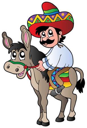 donkey: Mexicaanse paardrijden ezel Stock Illustratie