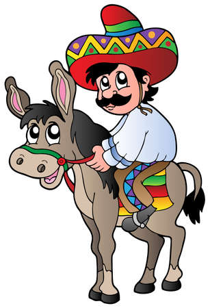 Mexican riding donkey Vector