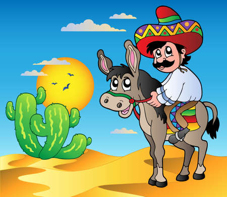 Mexican riding donkey in desert Vector