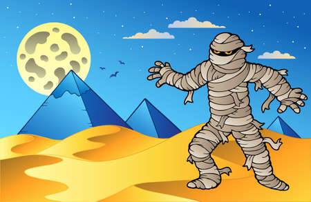 Night scene with mummy and pyramids