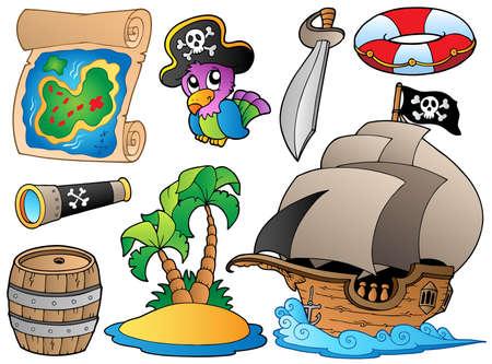 calavera pirata: Conjunto de varios objetos del pirata