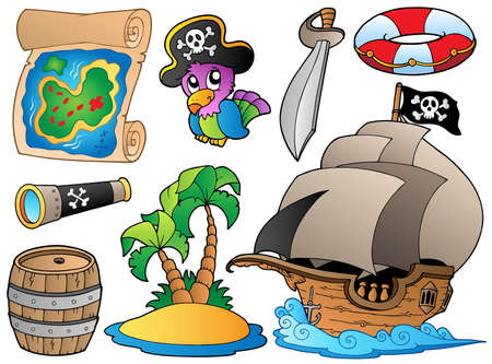 island clipart: Set of various pirate objects Illustration
