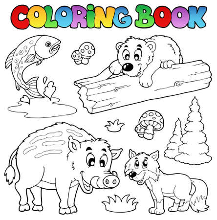 peces caricatura: Libro para colorear con animales de bosques Vectores