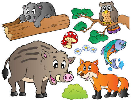 Forest cartoon animals set Vector
