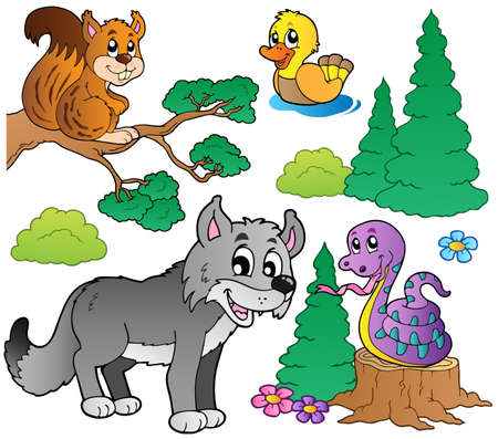 young animal: Forest cartoon animals set 2