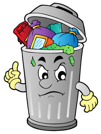 rubbish bin: Angry cartoon trash can  illustration.