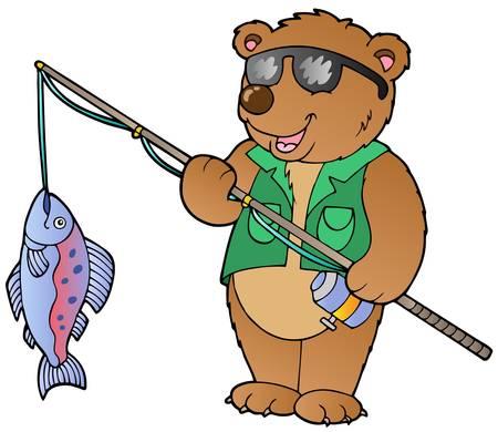 sportfishing: Cartoon bear fisherman  illustration.