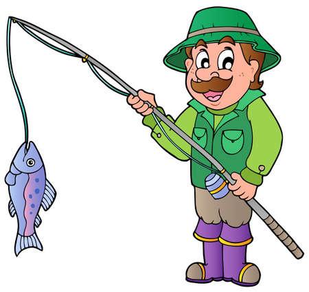 canna pesca: Pescatore di cartone animato con illustrazione di canna e pesce. Vettoriali