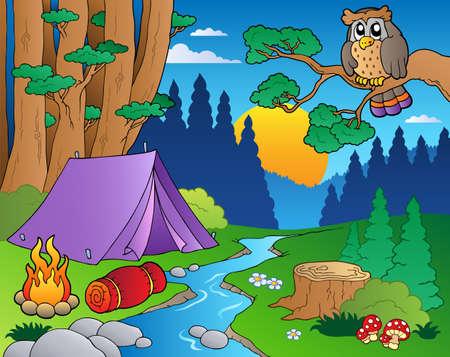 camping tent: Cartoon forest landscape illustration.
