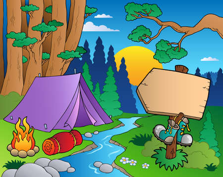 creek: Cartoon forest landscape illustration.