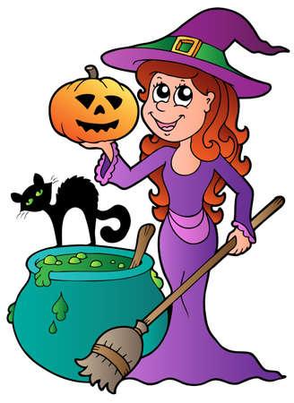 cauldron: Cartoon Halloween witch with cat  illustration.