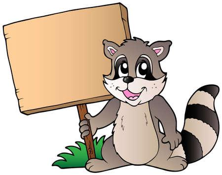 Cartoon racoon houden houten plank illustratie.