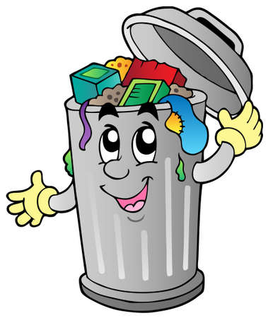 rubbish bin: Cartoon trash can  illustration.