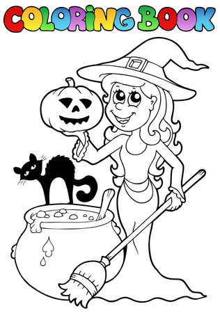 Coloring book Halloween topic illustration. Vector