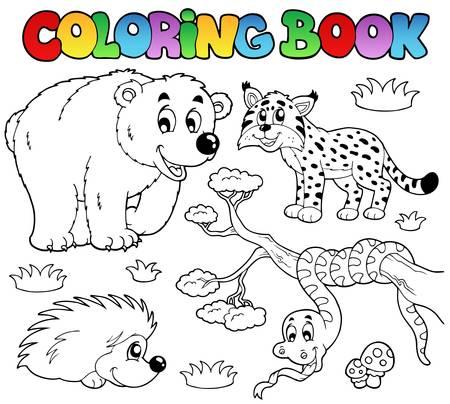 lynxs: Coloration du livre avec une illustration des animaux forestiers.