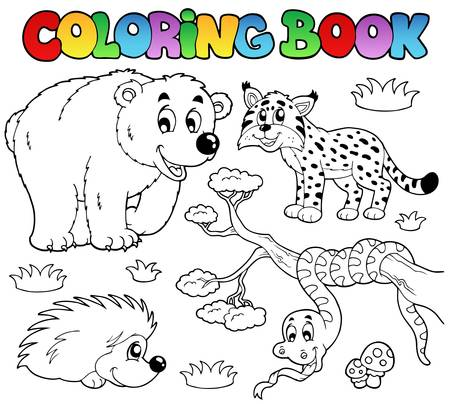 Coloring book with forest animals illustration. Vector