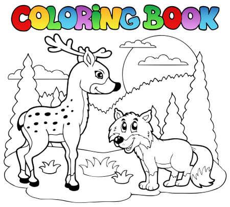 Coloring book with happy animals  illustration. Иллюстрация