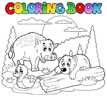 Coloring book with happy animals  illustration. Stock Vector - 9933084
