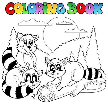 raton laveur: Coloration du livre avec une illustration des animaux heureux.