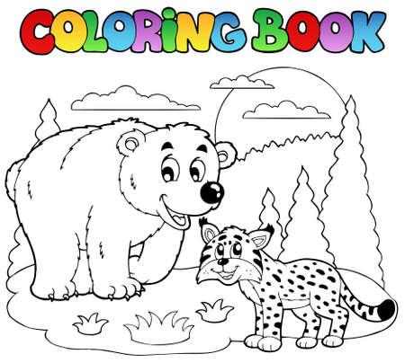 Coloration du livre avec une illustration des animaux heureux.
