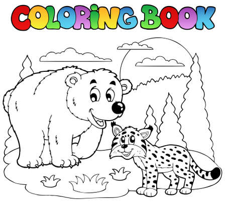 Coloring book with happy animals  illustration. Vector