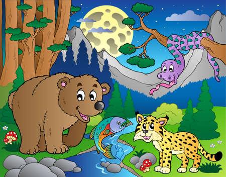 lince: Escena de bosque con ilustraci�n de animales felices.