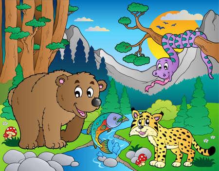 Escena de bosque con ilustración de diversos animales.