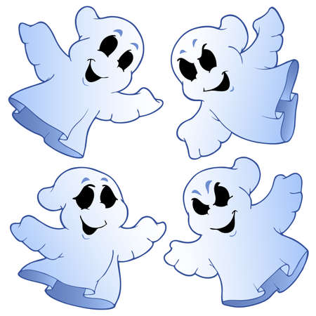 ghost character: Four cute ghosts illustration.