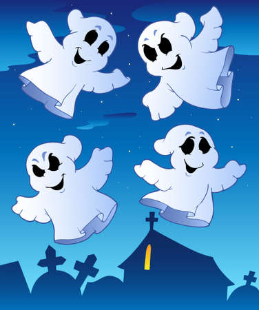 ghost character: Four ghosts near cemetery  illustration.
