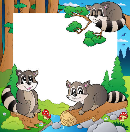 theme park: Frame with forest theme  illustration.