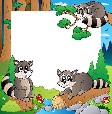 racoon: Ramka z ilustracjÄ… tematu lasu.