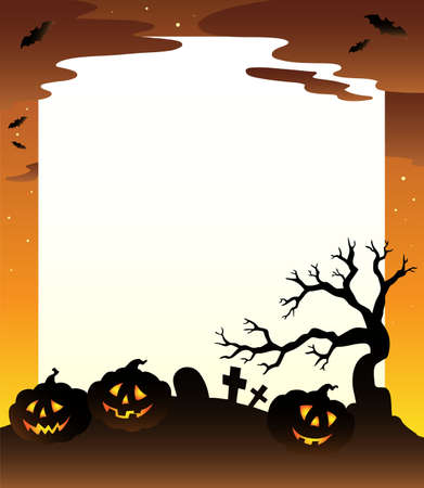Frame with Halloween scenery illustration. Vector