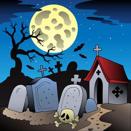 autumn scene: Halloween scenery with cemetery illustration.