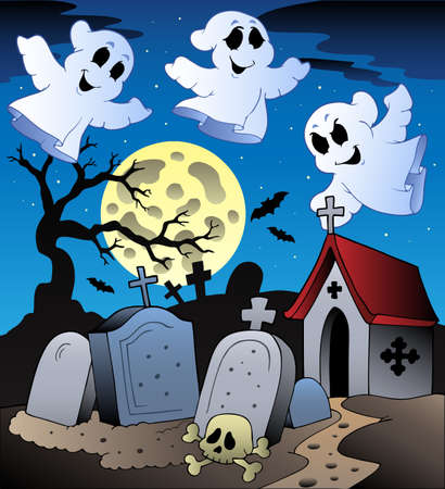 Halloween scenery with cemetery illustration. Vector