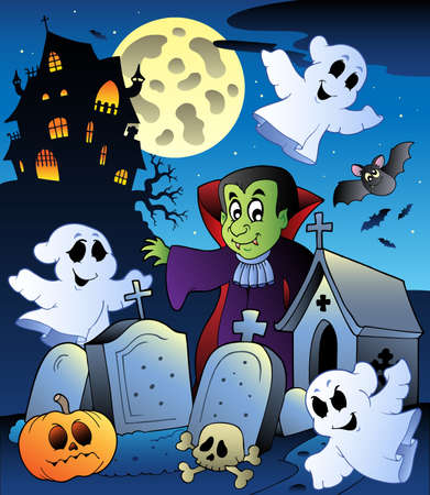 house fly: Halloween scenery with cemetery  illustration.