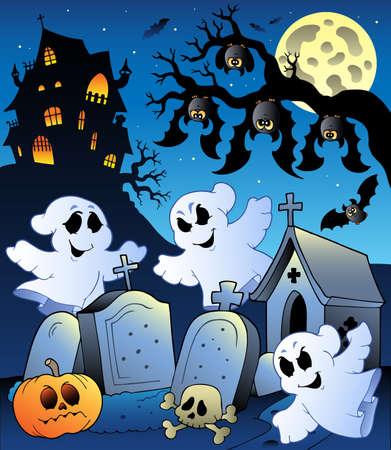 tombes: Paysage de Halloween avec illustration de cimeti�re.