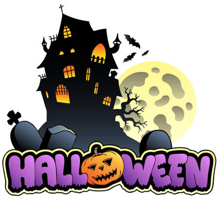 Halloween sign and image  illustration. Vector