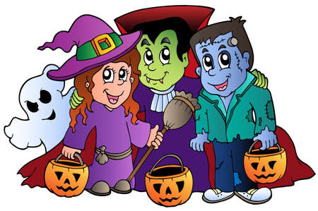 hat trick: Halloween Dolcetto o scherzetto caratteri illustrazione.