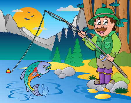 anglers: Lake with cartoon fisherman illustration.