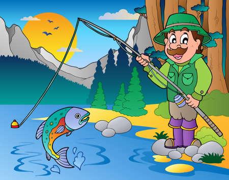 sportfishing: Lake with cartoon fisherman illustration.