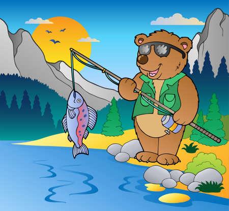 Le lac avec une illustration de p�cheur de dessin anim�. Illustration