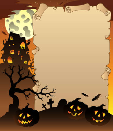 Parchment with Halloween topic illustration. Vector